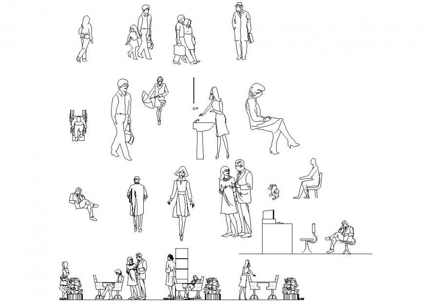 Drawing of human figures 2d block AutoCAD file