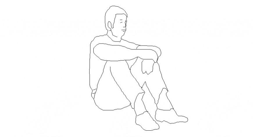 Drawing of man details 2d view people blocks dwg file