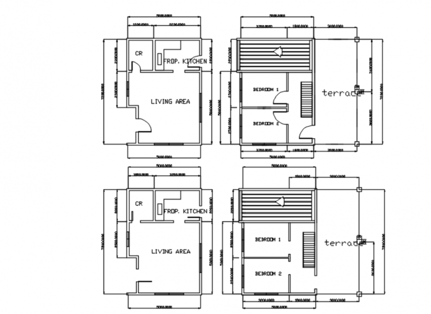 Drawing of mini house 2d design AutoCAD file