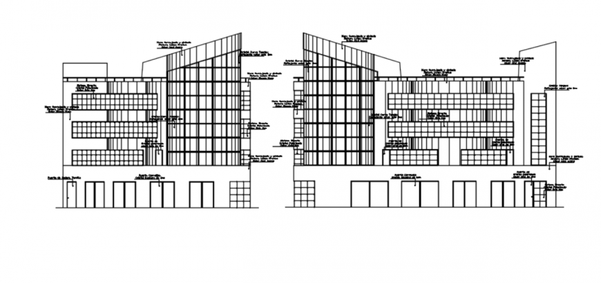 Drawing of office building 2d details AutoCAD file