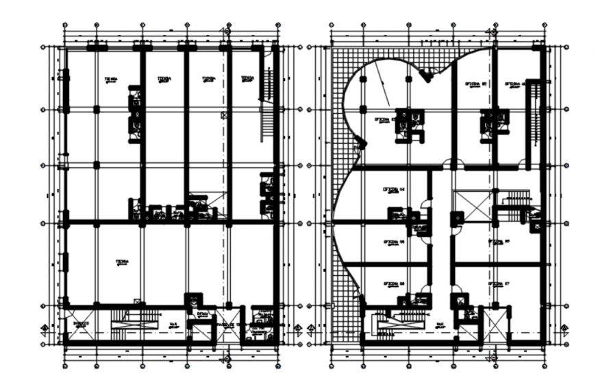 Drawing of office building AutoCAD file