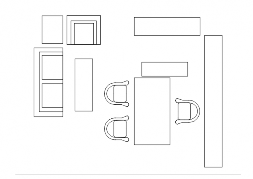 Drawing of office equipment details AutoCAD file