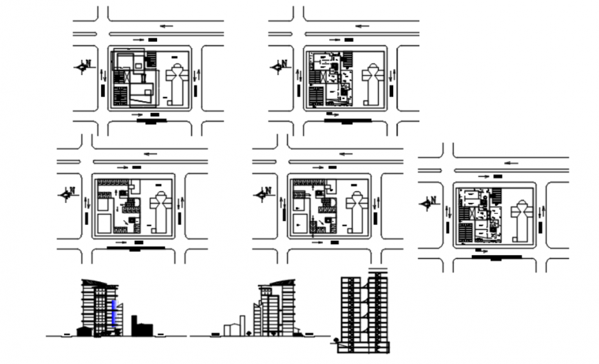 Drawing of office tower unit AutoCAD file