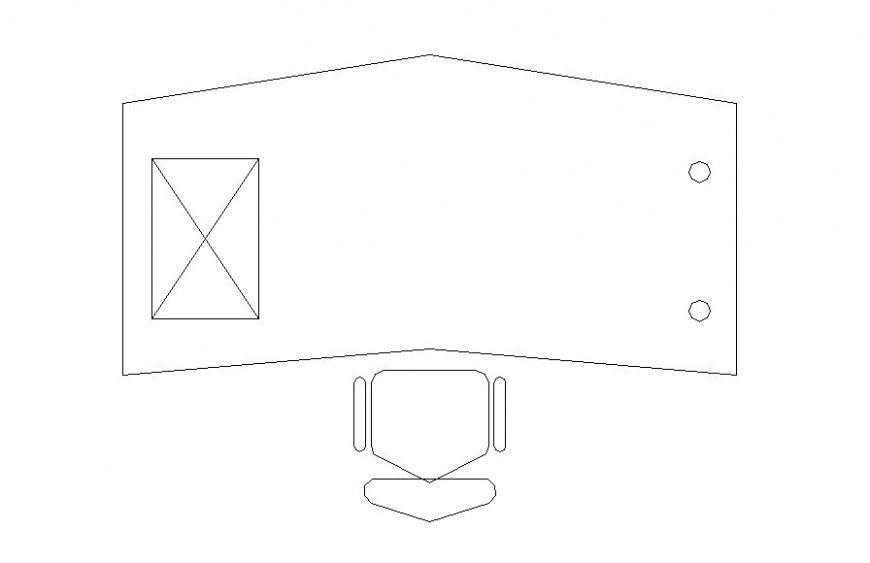 Drawing of one side triangle edge table block