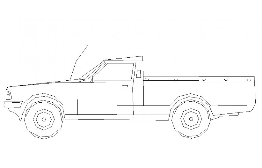 Drawing of pick up vehicle block AutoCAD file