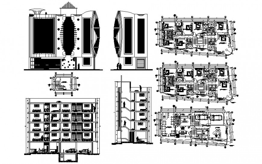 Drawing of residential apartments 2d view autocad file