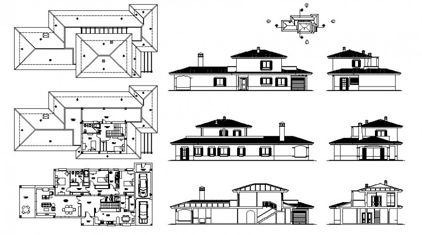 Drawing of Residential bungalow 2d view autocad file