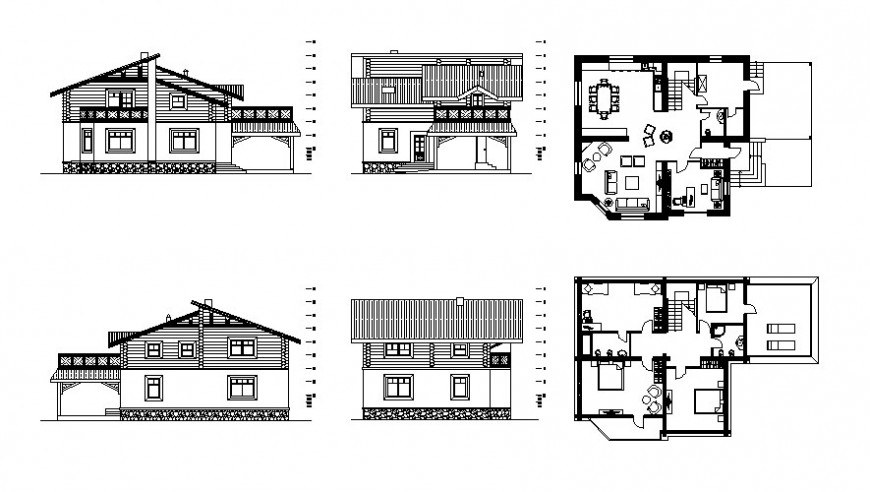 Drawing of residential house plan elevation and section in autocad