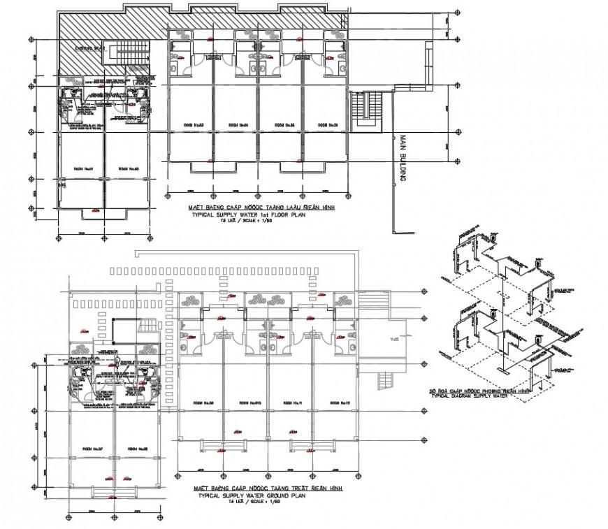 Drawing of room design plan in dwg file