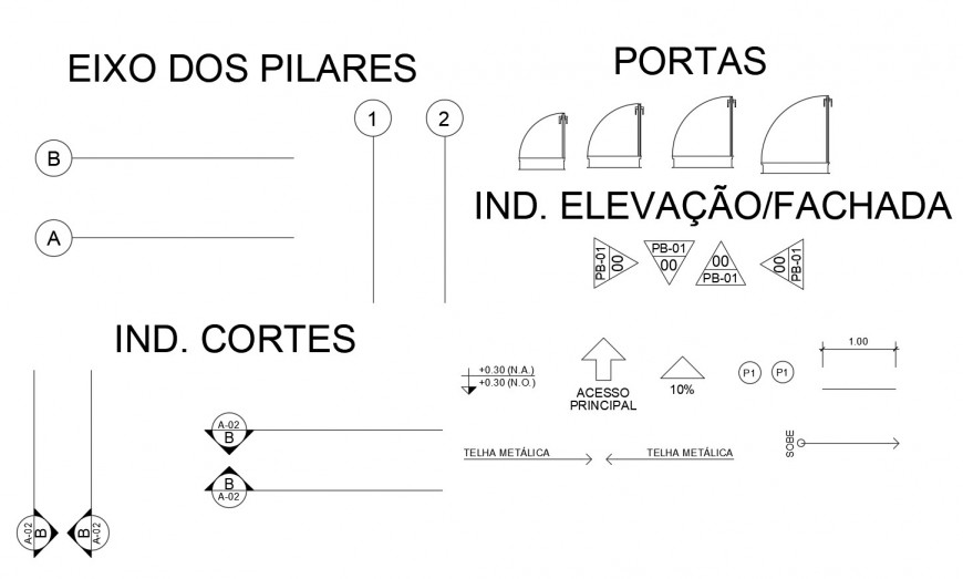 Drawing of signs and symbols 2d details AutoCAD file