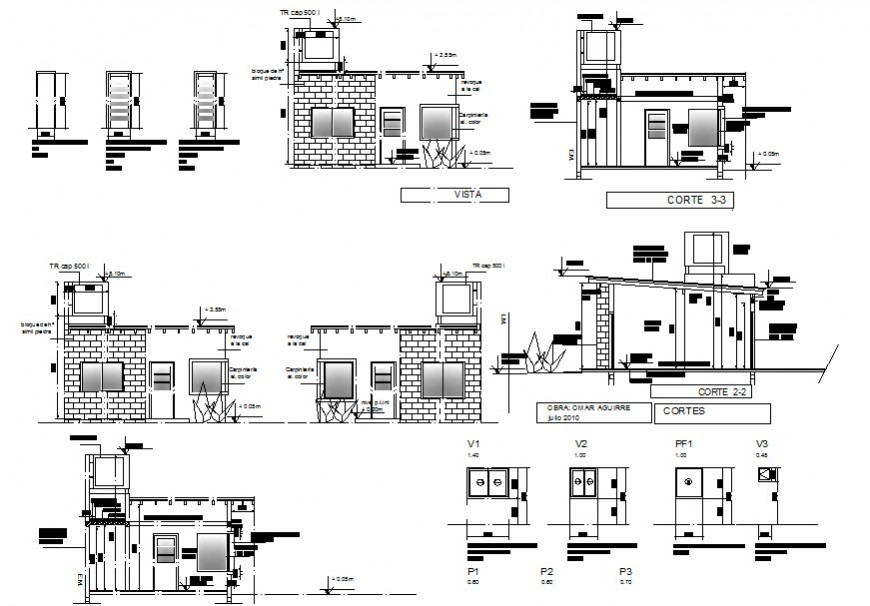 Drawing of single room house plan details AutoCAD file