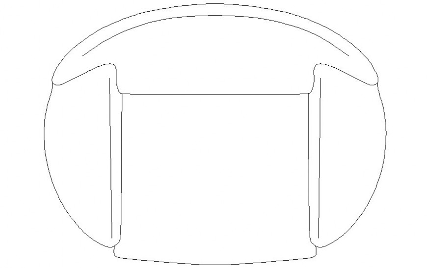 Drawing of sofa-chair 2d view furniture unit in autocad