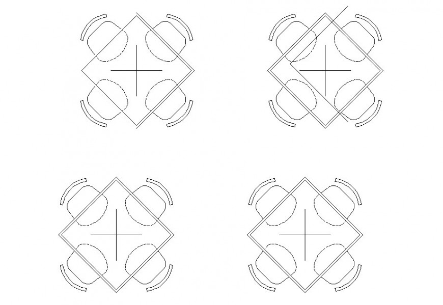 Drawing of square 4 seater table furniture block AutoCAD file
