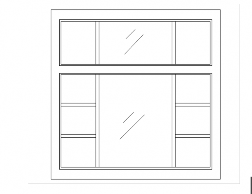 Drawing of square window 2d details AutoCAD file