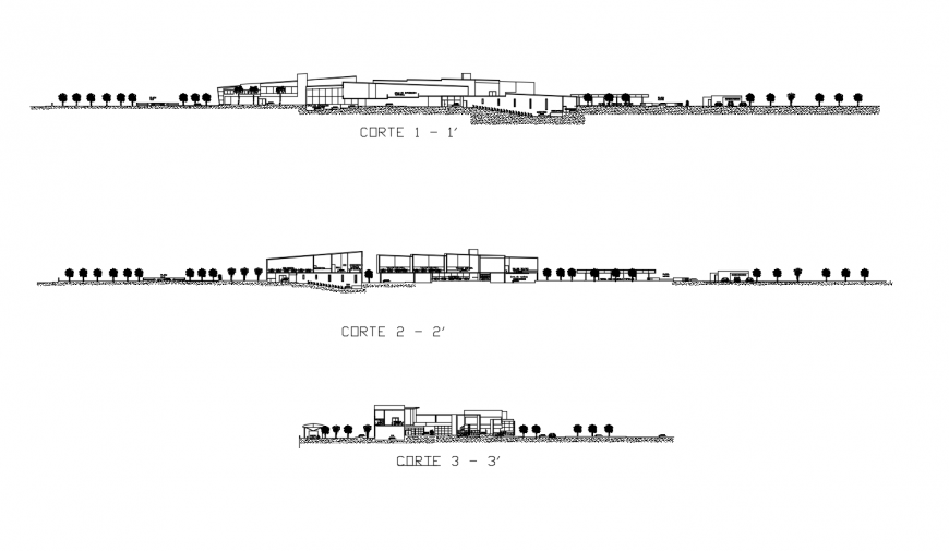 Drawing of the 2d design of cultural center AutoCAD file