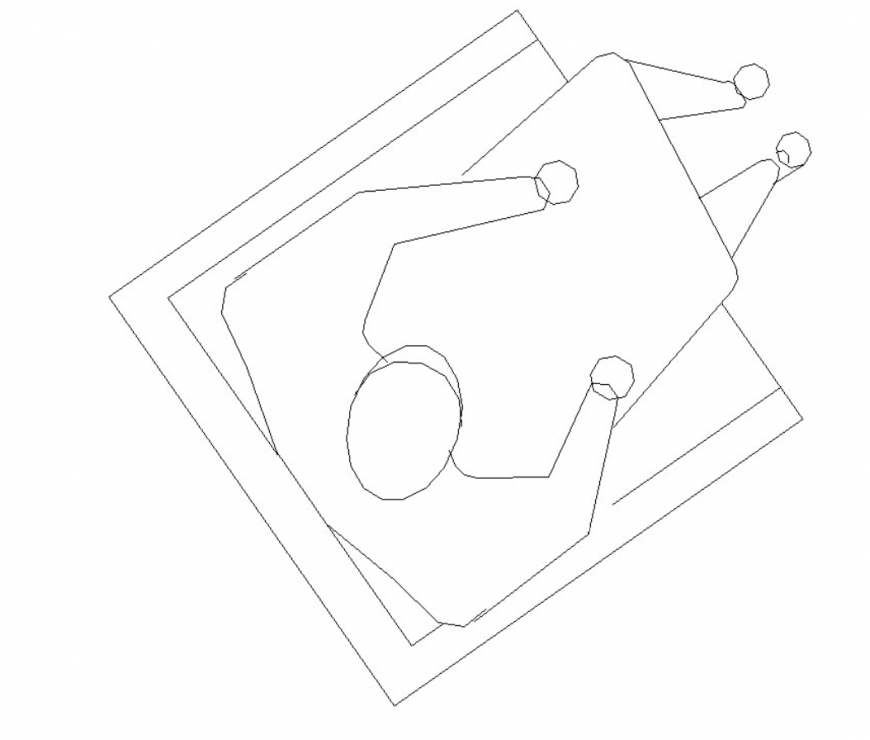drawing of the chair with a human block AutoCAD file