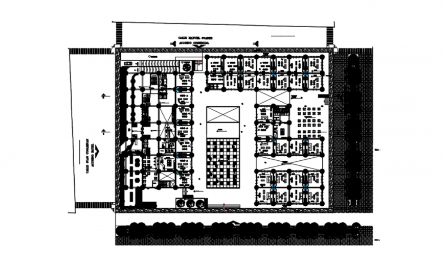 Drawing of the first floor of commercial complex AutoCAD file