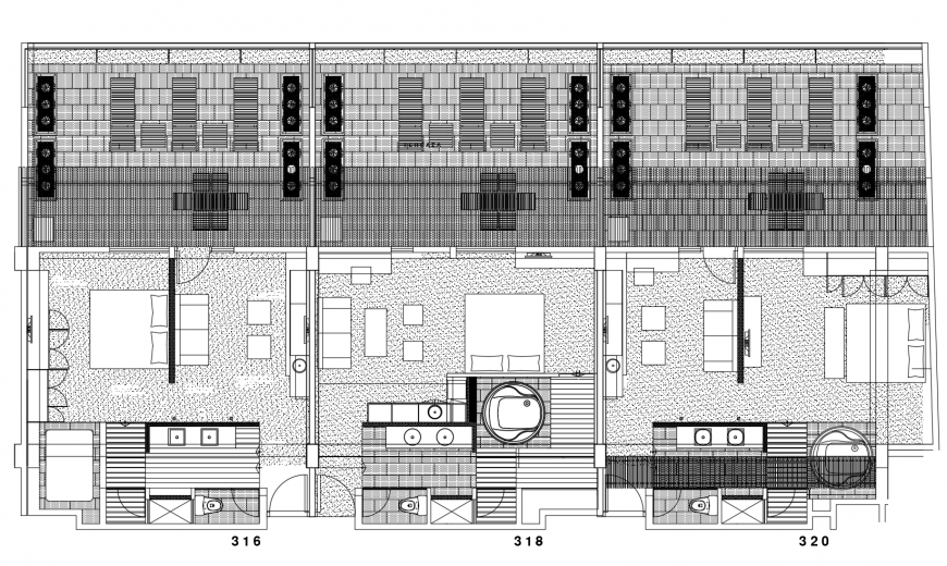 drawing of the hotel rooms details