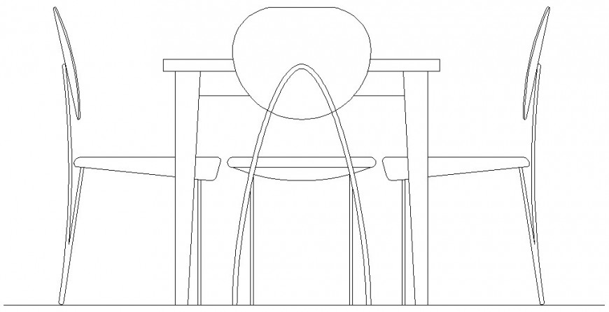 Drawing of the table with 3 chairs dwg file
