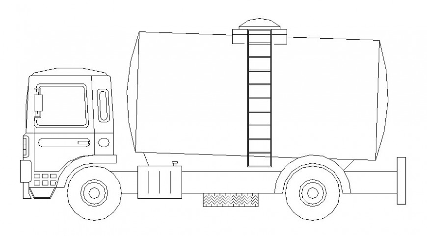 Drawing of transportation truck 2d view in autocad software