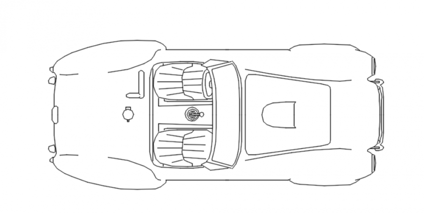 Drawing of two-seater car 2d block AutoCAD file