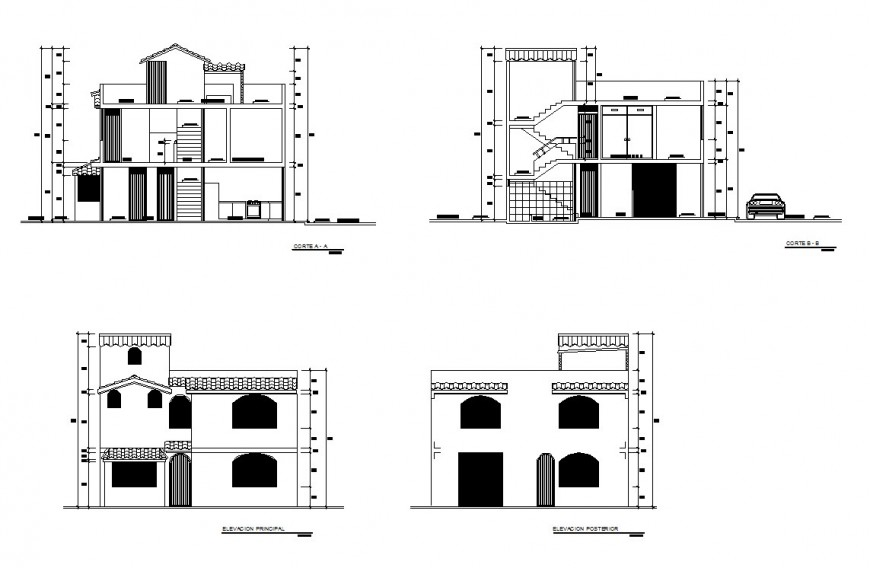 Drawing of two-story house details AutoCAD file