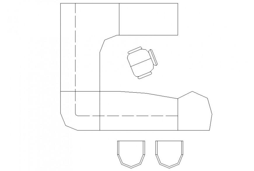 Drawing of u-shape office desk block
