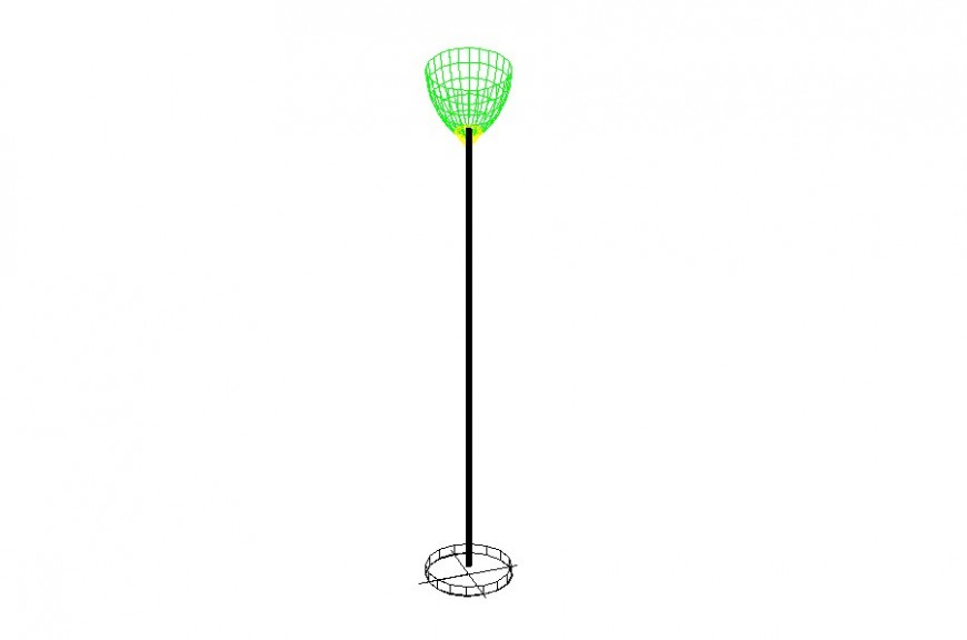 Drawing of up floor lamp AutoCAD 3d model.