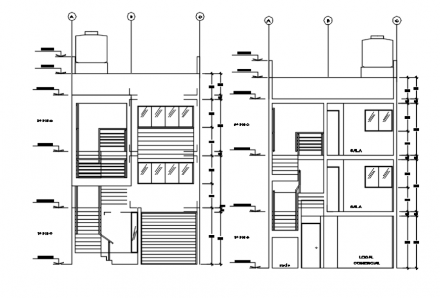 Drawing of urban house 2d model AutoCAD file