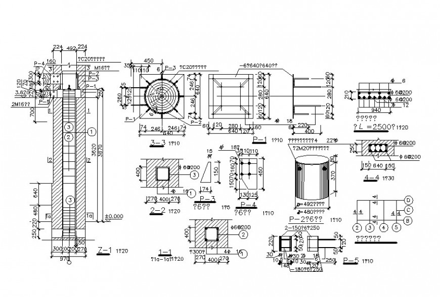 Drawing of various column detail AutoCAD file
