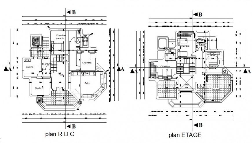 Drawing of villa design 2d details AutoCAD file