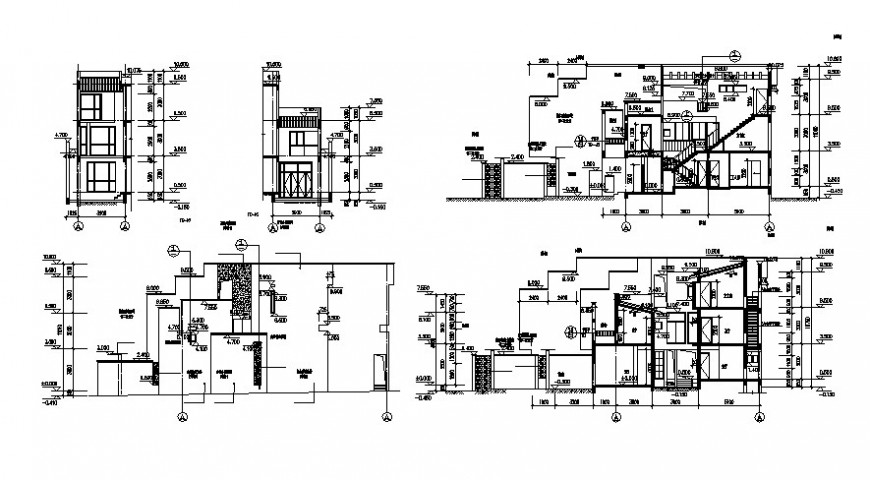 Drawing of villa details elevation and section autocad file