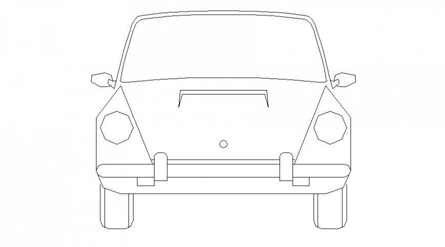 Drawing of vintage car 2d view elevation autocad file