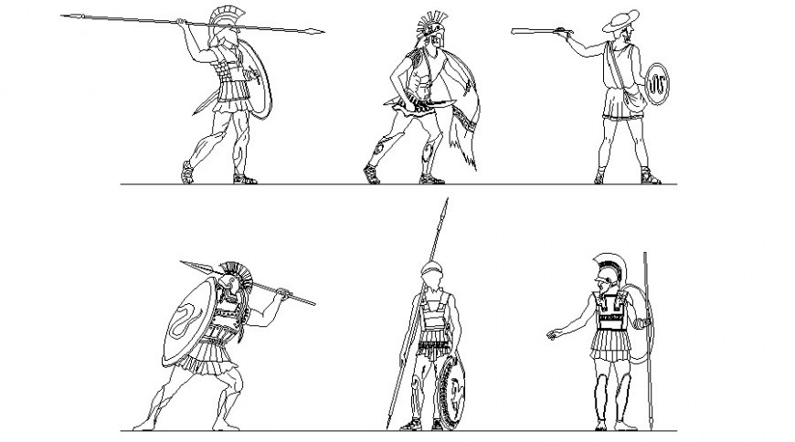 Drawing of warrior people blocks 2d view autocad file