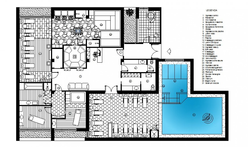 Drawing of wellness center 2d detail AutoCAD file