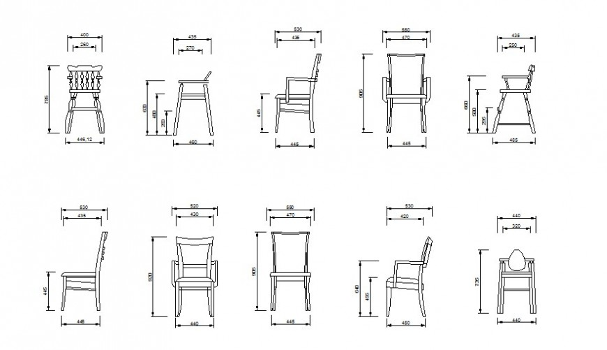 Drawing of wooden chairs block AutoCAD file.