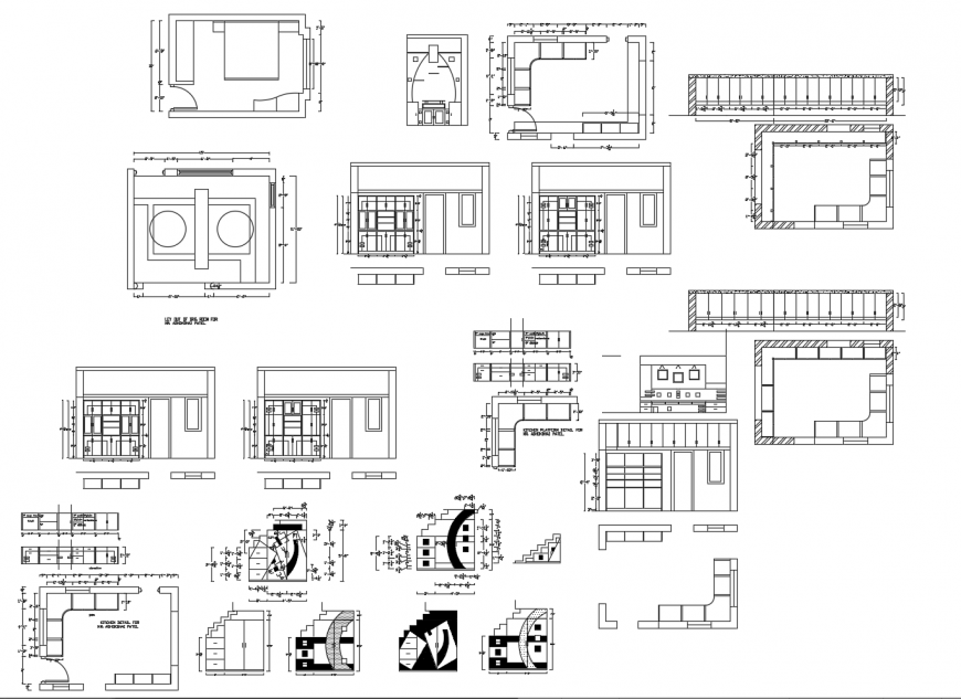 Drawing room, bedroom and house area plans cad drawing details dwg file