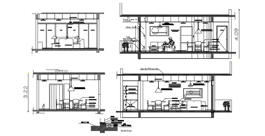 Drawing room all sided section with furniture cad drawing details dwg file