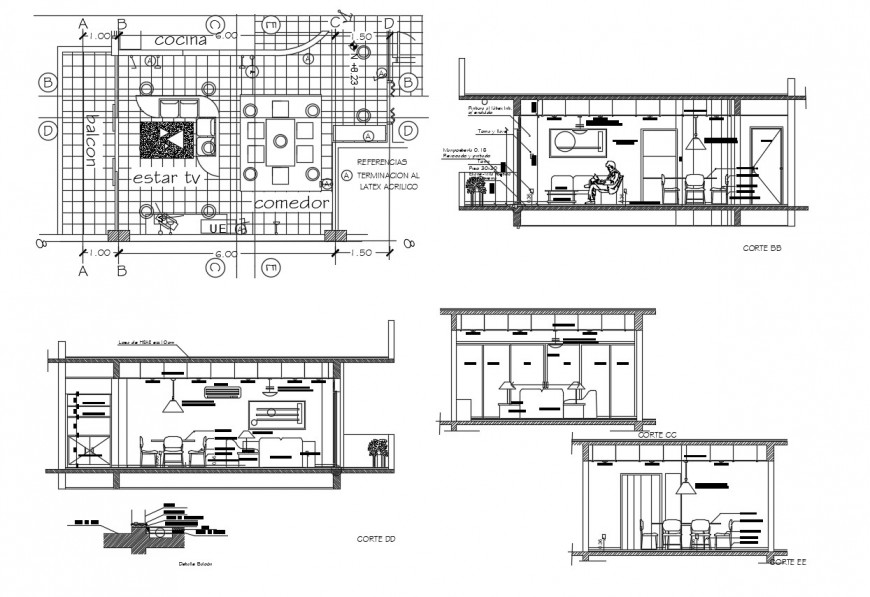 Drawing room all sided sections, layout plan and furniture drawing details dwg file