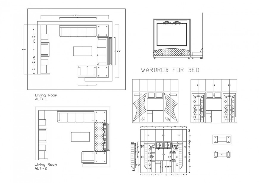 Drawing room and bedroom furniture blocks cad drawing details dwg file