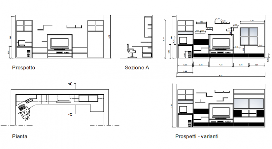 Drawing room and study room of house section with furniture layout details dwg file