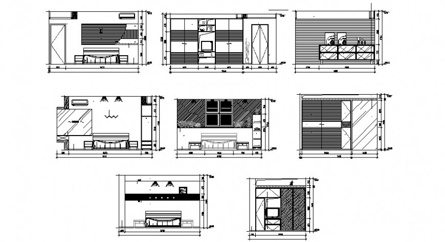 Drawing room area detail 2d view elevation autocad file