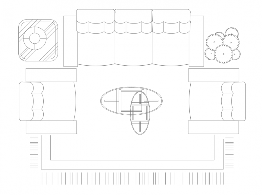 Drawing room area furniture units 2d view autocad file