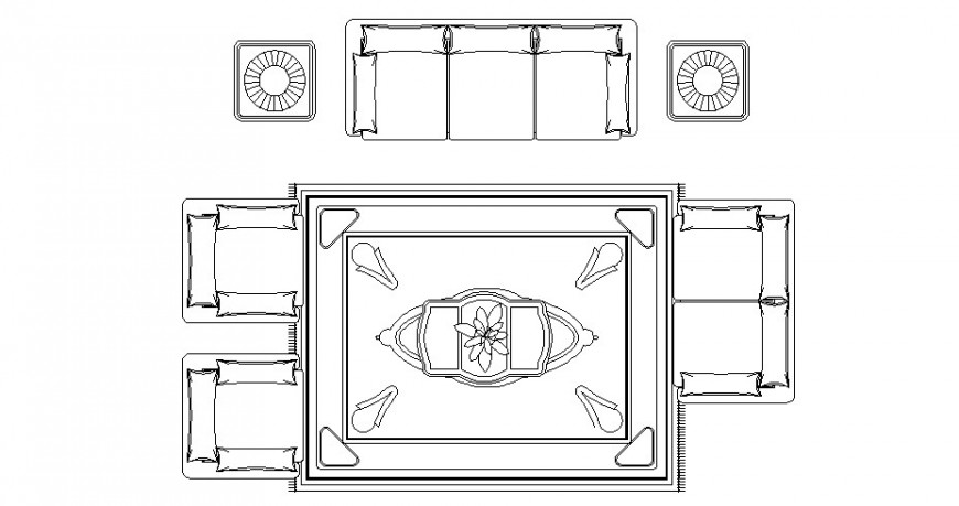Drawing room blocks detail furniture units 2d view autocad file