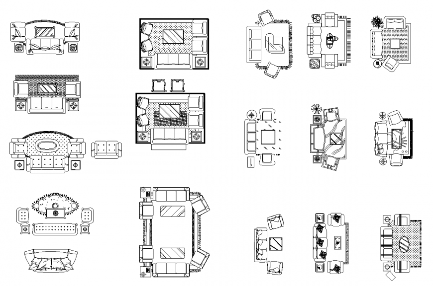 Drawing room detail elevation furniture layout file