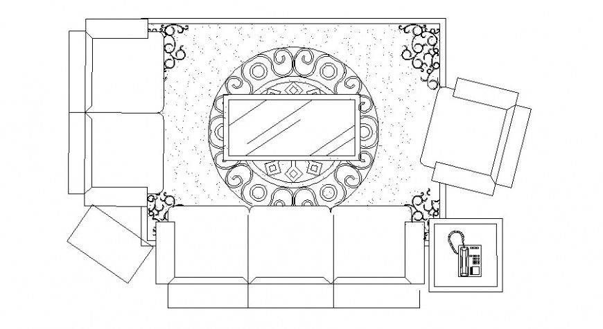 Drawing room detail with furniture units 2d view layout file in dwg format