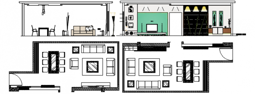 Drawing room detailed section, layout plan and furniture cad drawing details dwg file