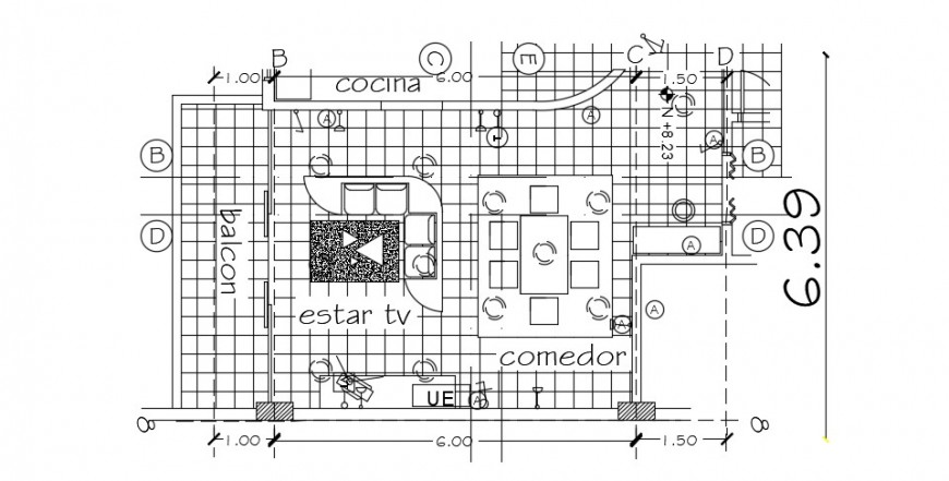Drawing room distribution plan with furniture drawing details dwg file