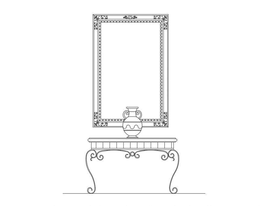 Drawing room furniture blocks with table and painting cad drawing details dwg file