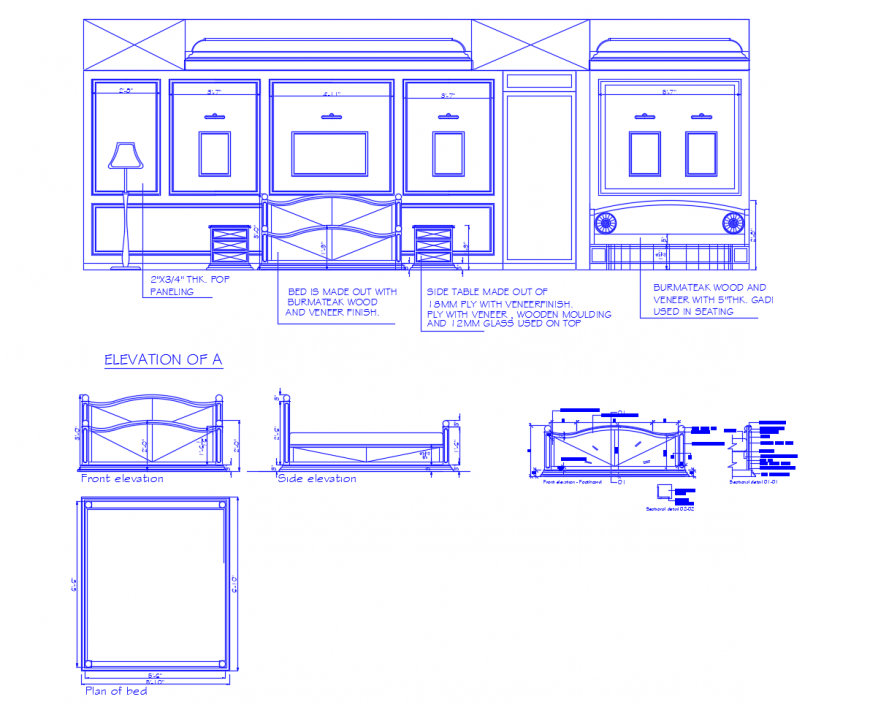 Drawing room furniture elevation detail 2d view autocad file